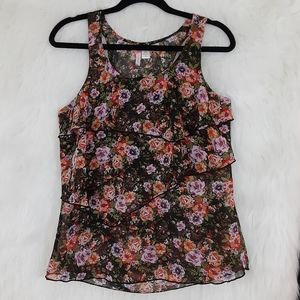 6 Degrees Black Floral Print Top Size M